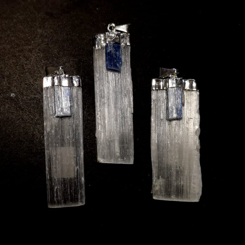 Selenite with Kyanite Pendant All Crystal Jewelry kyanite