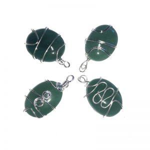Aventurine Pendant, Oval, Wire Wrapped All Crystal Jewelry aventurine
