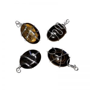 Tiger Eye Pendant, Oval, Wire Wrapped All Crystal Jewelry gold tiger eye