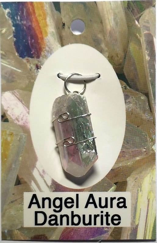 Wire Wrapped Pendant, Angel Aura Danburite All Crystal Jewelry angel aura