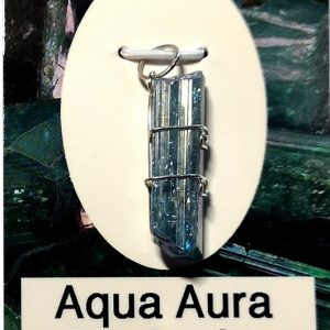 Wire Wrapped Pendant, Aqua Aura Danburite All Crystal Jewelry aqua aura