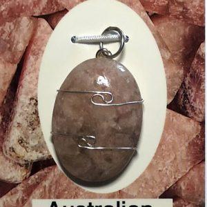 Wire Wrapped Pendant, Australian Kunzite All Crystal Jewelry australian kunzite