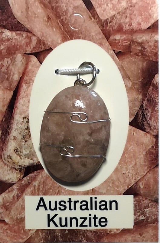 Wire Wrapped Pendant, Australian Kunzite