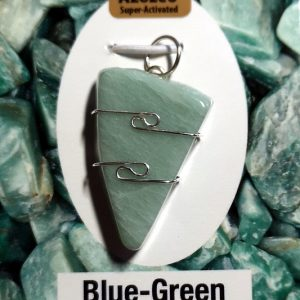 Wire Wrapped Pendant, Blue-Green Azeztulite All Crystal Jewelry azeztulite