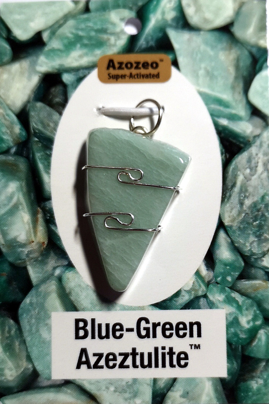 Wire Wrapped Pendant, Blue-Green Azeztulite
