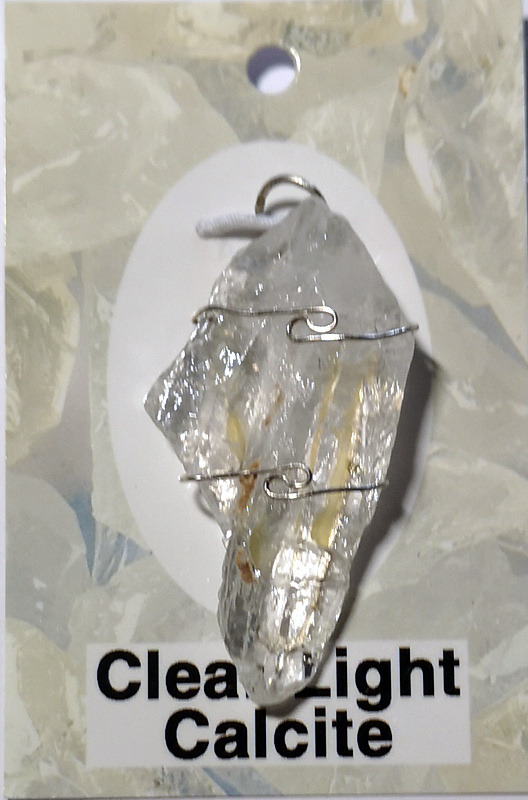 Wire Wrapped Pendant, Clear Light Calcite