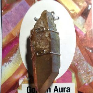 Wire Wrapped Pendant, Golden Aura Quartz All Crystal Jewelry golden aura quartz