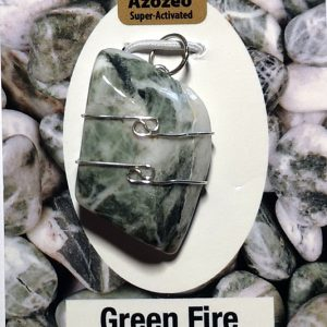 Wire Wrapped Pendant, Green Fire Azeztulite Crystal Jewelry azeztulite