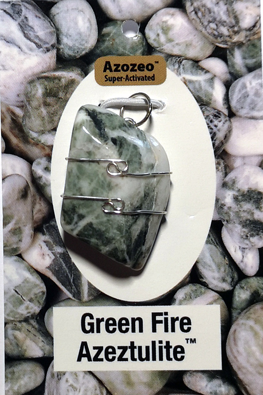 Wire Wrapped Pendant, Green Fire Azeztulite