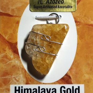 Wire Wrapped Pendant, Himalaya Gold Azeztulite All Crystal Jewelry gold azeztulite