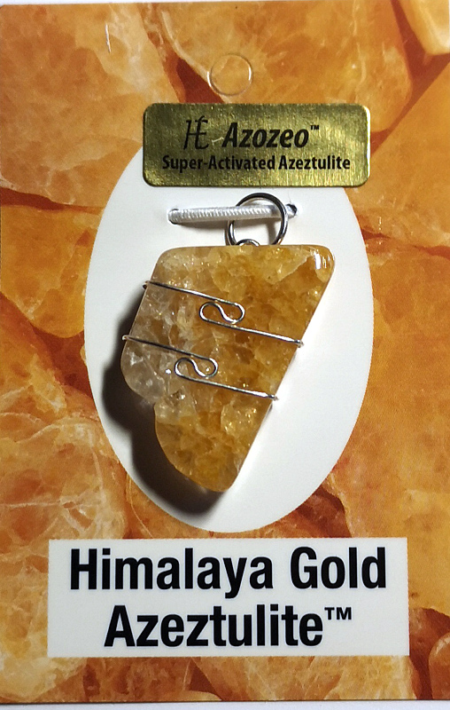 Wire Wrapped Pendant, Himalaya Gold Azeztulite All Crystal Jewelry gold azeztulite