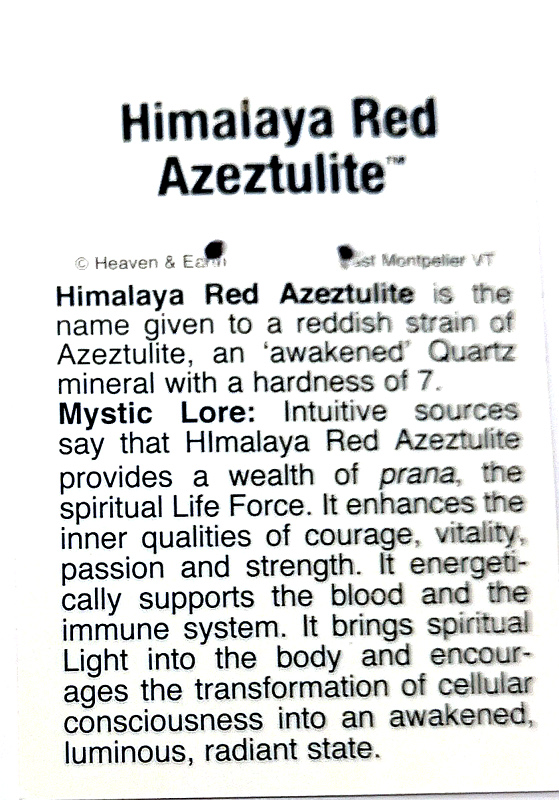 Wire Wrapped Pendant, Himalaya Red Azeztulite All Crystal Jewelry azeztulite