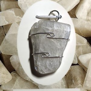 Wire Wrapped Pendant, Natrolite Crystal Jewelry natrolite