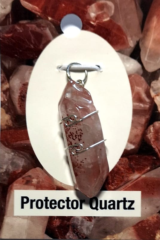 Wire Wrapped Pendant, Protector Quartz All Crystal Jewelry protector quartz