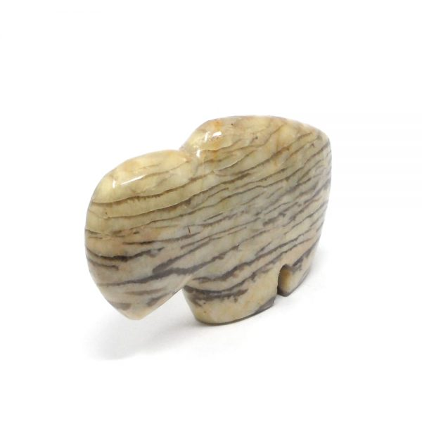 Graphic Feldspar Bison Carved Animals and Statues bison