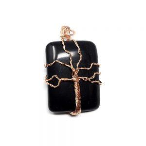 Black Obsidian & Copper Pendant Crystal Jewelry black obsidian