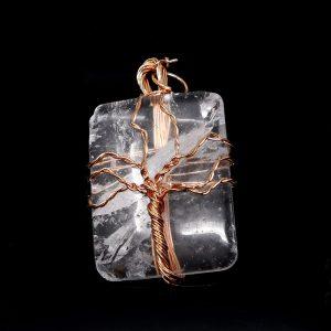 Quartz & Copper Pendant Crystal Jewelry clear quartz