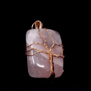 Rose Quartz & Copper Pendant Crystal Jewelry copper