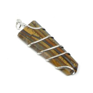 Tiger Eye Coil Wrapped Pendant All Crystal Jewelry pendant