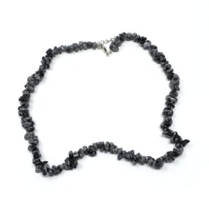 Snowflake Obsidian Chip Choker All Crystal Jewelry crystal chip choker