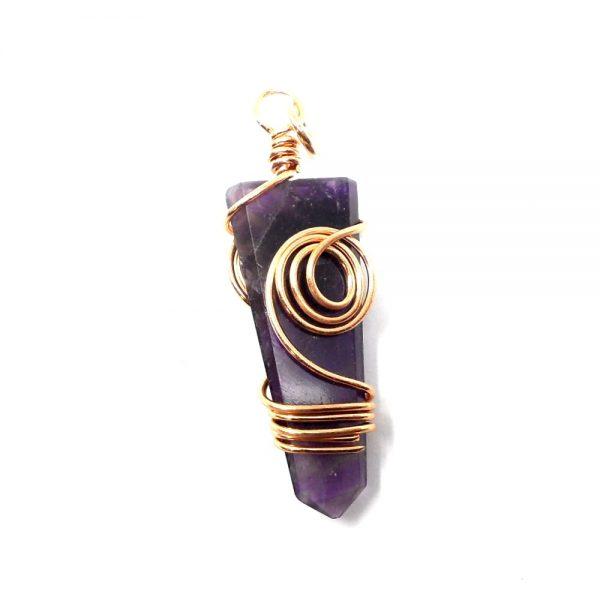 Amethyst & Copper Pendant All Crystal Jewelry amethyst