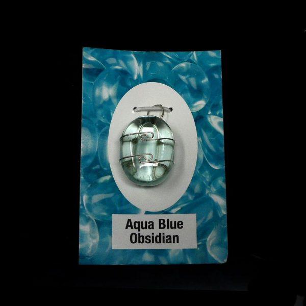 Aqua Blue Obsidian Pendant All Crystal Jewelry aqua blue obsidian