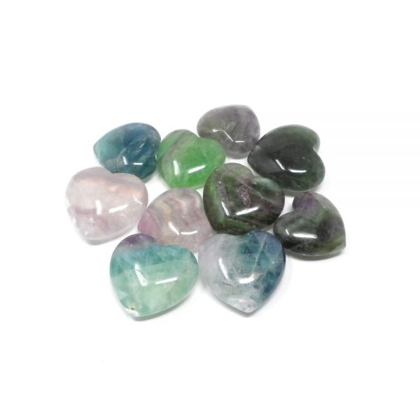 Fluorite Hearts bag of 10 All Polished Crystals bulk fluorite hearts
