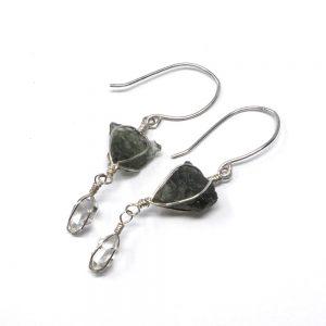 Moldavite and Herkimer Diamond Earrings All Crystal Jewelry crystal earrings