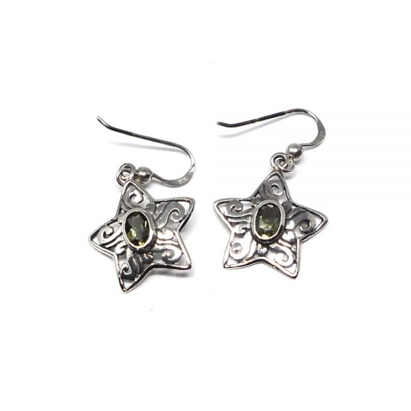 Moldavite Star Earrings All Crystal Jewelry crystal earrings