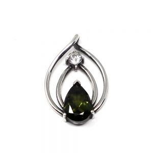 Moldavite and Phenacite Pendant All Crystal Jewelry authentic moldavite
