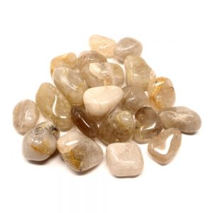 Quartz, Rutilated, tumbled, 8oz All Tumbled Stones quartz
