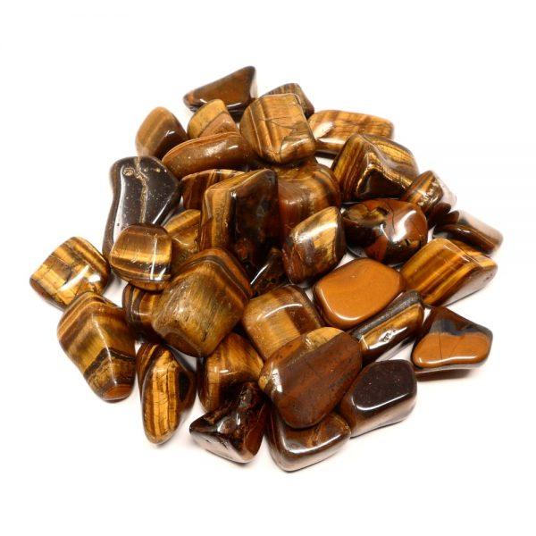 Tiger Eye, Gold, LG tumbled, 16oz I All Tumbled Stones bulk crystals