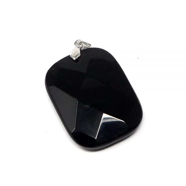 Obsidian Faceted Pendant All Crystal Jewelry black obsidian