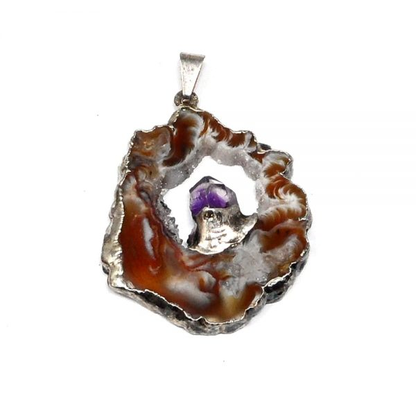 Oco Pendant with Amethyst All Crystal Jewelry agate