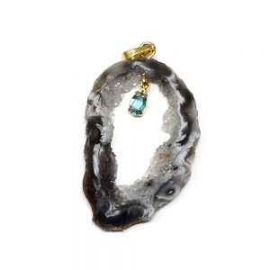 Oco Pendant with Topaz Crystal Jewelry agate
