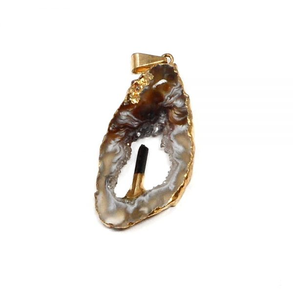 Oco Pendant with Black Tourmaline All Crystal Jewelry agate