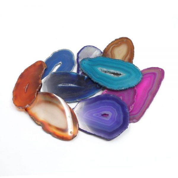 Agate Slabs, Mixed, pack of 10 size 0 drilled Agate Slabs agate