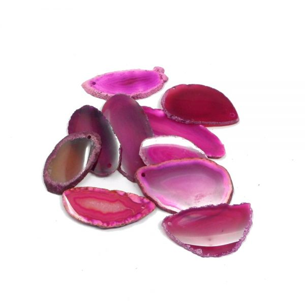 Agate Slabs, Pink, pack of 10 size 00 drilled Agate Products agate