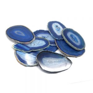 Agate Slabs, Blue, pack of 10 size 1 drilled Agate Slabs agate