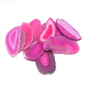 Agate Slabs, Pink, pack of 10 size 1 drilled Agate Slabs agate