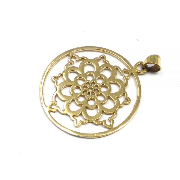 Brass Flower Pendant All Crystal Jewelry brass