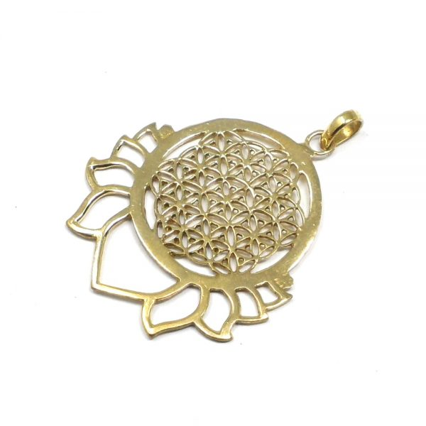 Brass Flower of Life Pendant All Crystal Jewelry brass
