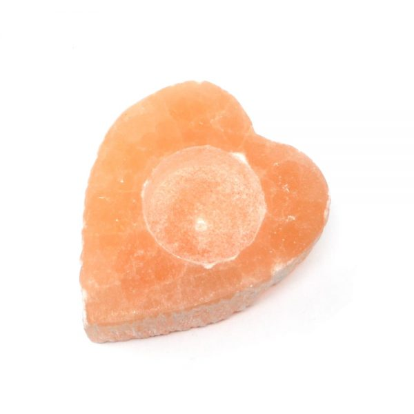 Selenite Heart Tealight Candleholder All Raw Crystals candle holder