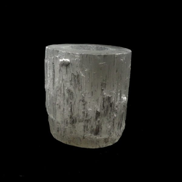 Selenite Skyscraper Tealight Candleholder All Raw Crystals candle holder