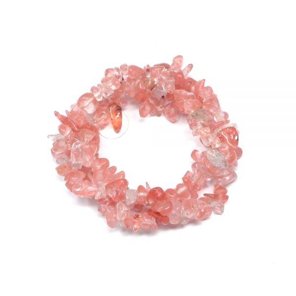 Cherry Quartz Three Strand Chip Bracelet All Crystal Jewelry bracelet